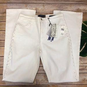 NYDJ The Sarah Boot Cream Jeans w/ Rhinestones NWT